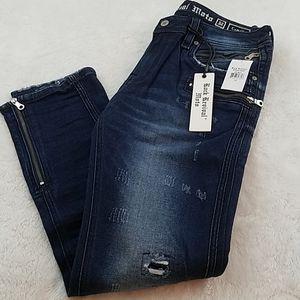 Rock Revival Camille Sz 32 Skinny Zip Moto Jeans